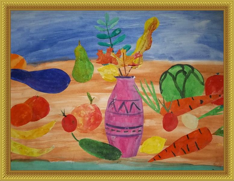 детские рисунки осенний натюрморт: